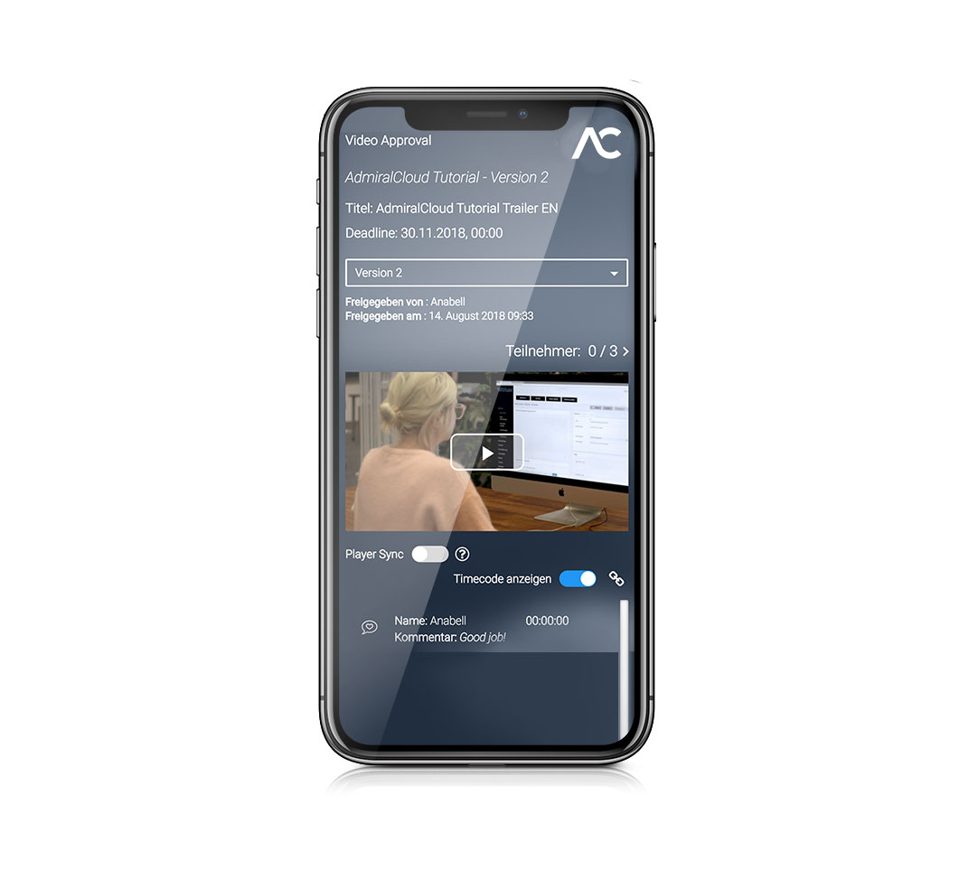 Mockup mobile view of the CollaborationTool