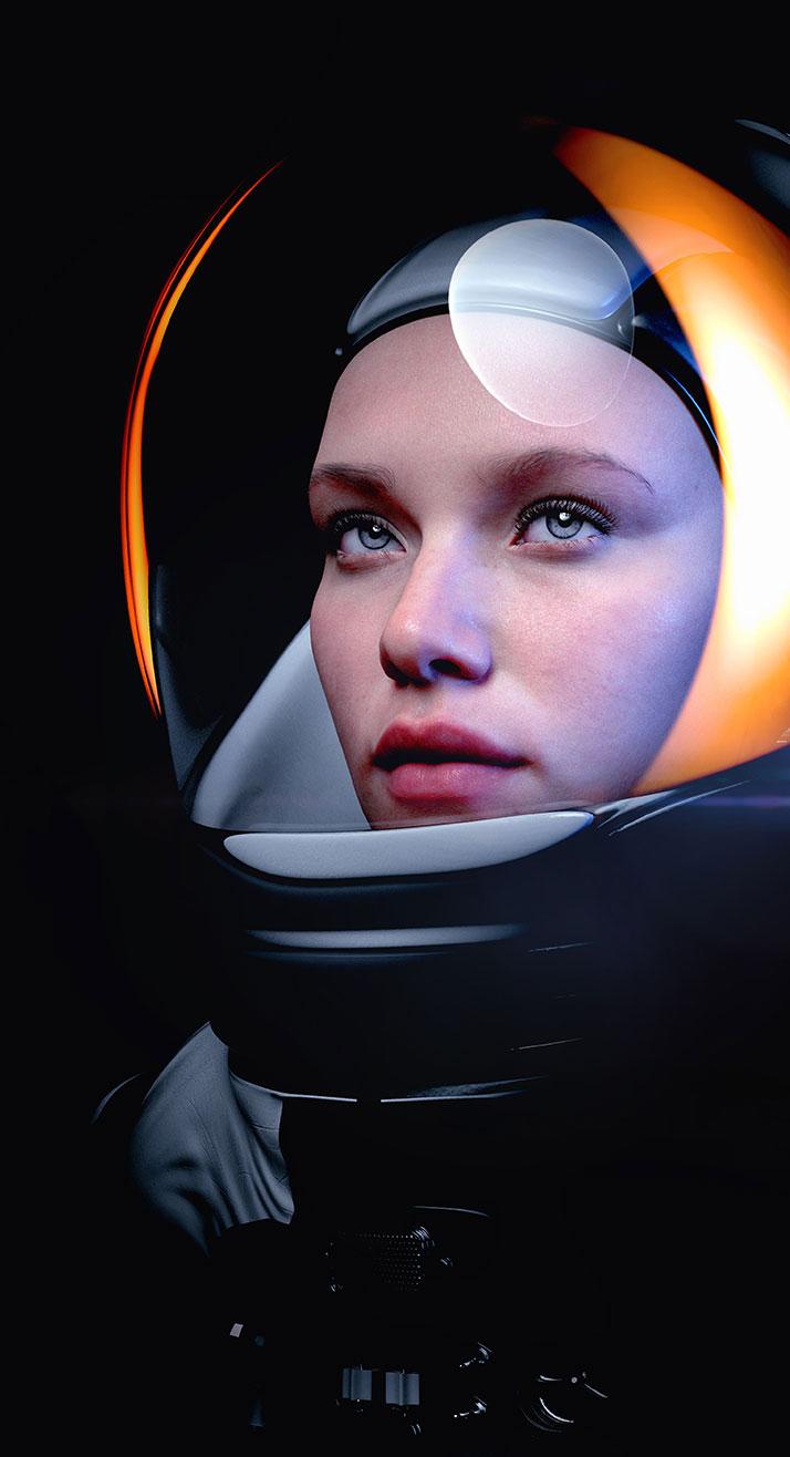 Eine weibliche Astronautin